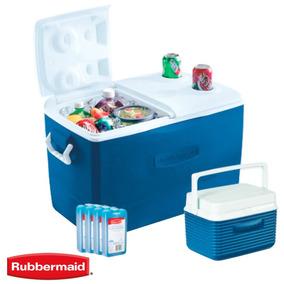 Set Heladera Rubbermaid 47lts + Cooler 4.7lts + Packs Hielo