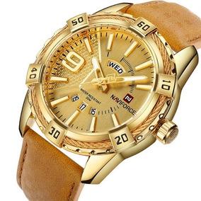 Relógio Masculino Naviforce® 9117 Analógico Dourado Couro