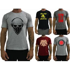 5 Camiseta Masculina Camisa Rock Raglan T-shirt Blusa Origin
