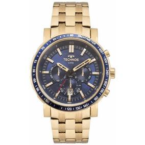 fe62302a2c43c Relógio Technos Aço Fundo Azul Masculino Cronógrafo.promoção ...