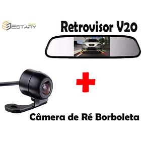 1 Retrovisor 4.3 V20 + 1 Câmera De Ré Noturna Borboleta