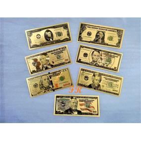 Lote 7 Cédulas Dolar Dourada Folheada Ouro Enfeite Decoração