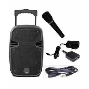 Caixa De Som Amplificada 100w Rms Sd Usb Microfone Sem Fio