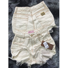 Shorts Jeans Sal E Pimenta Offwhite Destroyed Cintura Alta