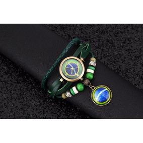 Relógio Pulseira Couro Verde Com Pingente Brasil Feminino