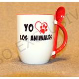 Tazón Con Cuchara Yo Amo Los Animales - Un Regalo Perfecto