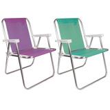 Kit 2 Cadeiras Alta Alumínio Sannet Azul Verde Praia - Mor