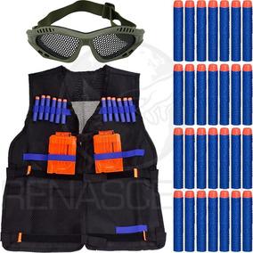 Kit Colete + Óculos Telado + 50 Dardos Arma Brinquedo Nerf