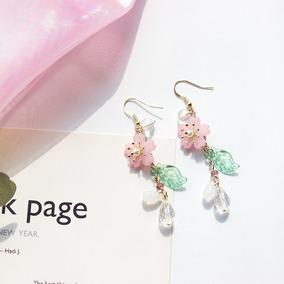 Aretes Sakura Flor Cerezo Rosa Blanco Cute Kawaii Japon