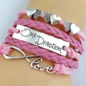 Pulseira Feminina Corações One Direction Love Infinito Rosa