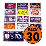 Pack 30 Patentes Placas Souvenir Metalica / Lhua Store
