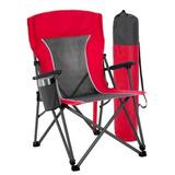 Cadeira Camping Grande Aço Porta Copos Para Pesca + Conforto