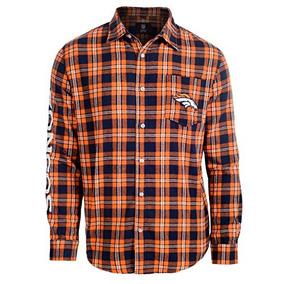 Klew Nfl Denver Broncos Wordmark Camisa De Franela Básica 94280156887