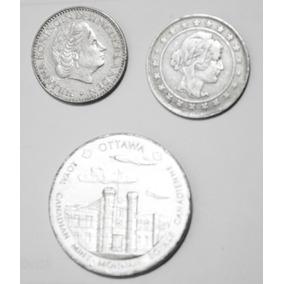 Kit 3 Moedas - Medalha Royal Canadian,2000 Reis,juliana 69