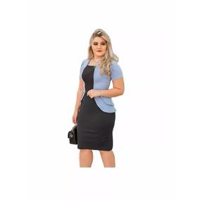 Vestido bicolor azul e branco