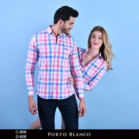 Camisa Dama O Caballero Parejas Cuadros Porto Blanco De-808