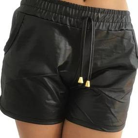 Short Feminino Cintura Alta Couro Fake Tecido Cirrê P M G Gg