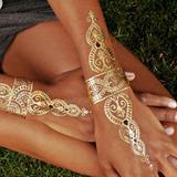 Tatuajes Temporales Cadera Busto Brazos Dorados Metálico