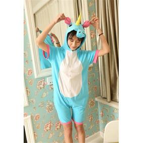 Pijama Corta Unicornio Azul Kigurumi Disfraz Verano Conjunto
