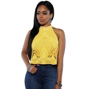 Sexy Crop Top Halter Blusa Crochet 25780