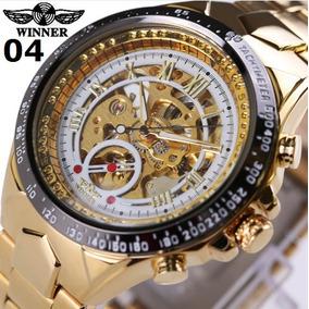 3a3a950d23f Relogios Masculino Winner Original Dourado-branco Automatico