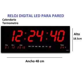 Reloj Led Digital De Pared Rojo 48cm Calendario/termometro