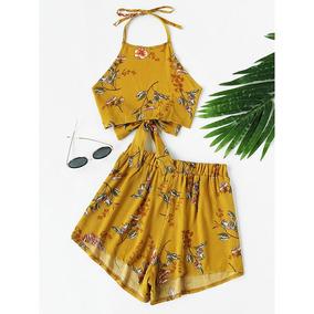 Conjunto Cropped E Shorts Floral Com Laço Sob/ Encomenda 098