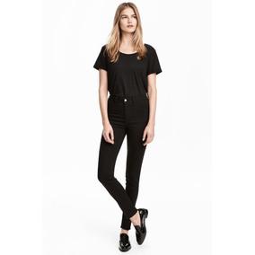 Pantalón De Jean Elastizado Mujer H m Chupin Negro Tiro Alto 8186bb3c3513