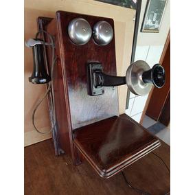 Telefone Americano Kellogg De Madeira E Manivela - Funciona