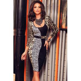 Moda Sexy Mini Vestido Zebra Leopard Print Con Mangas 60750
