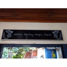 Placa Cerveja Decoração Water Barley Hops Yeast