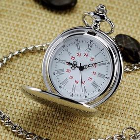 Reloj De Bolsillo Tipo Vintage Plateado Manecillas Romanas
