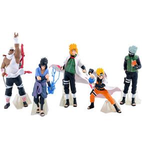 Kit 5 Bonecos Naruto Sasuke Kakashi Minato Killerbee A097
