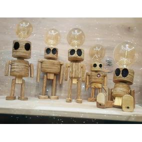 Veladores Infantiles Madera Robot