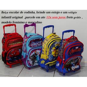 Kit 2 Bolsa Escolar Com Rodinhas ,+ Estojo