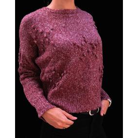 Sweater Lana Pompones Gris / Bordo S-m-l-xl