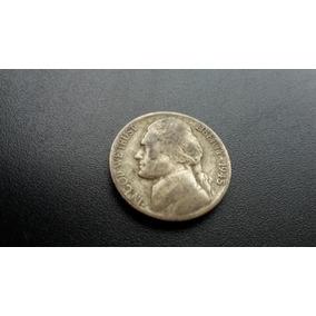 Mp75= Moeda Eua Five Cents Letra D 1945 Prata Sem Limpar