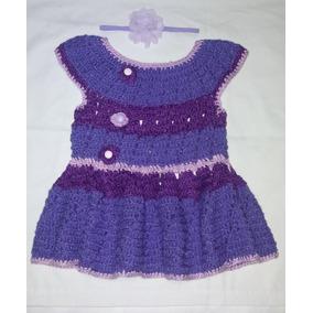 Vestido Crochet Tejido A Mano Para Bebe Color Morado