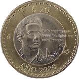 Moneda 20 Pesos Conmemorativa Octavio Paz Año 2000