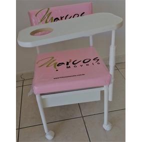 Cadeira Cirandinha Branco Estofado Rosa Com Gliter Brilhante