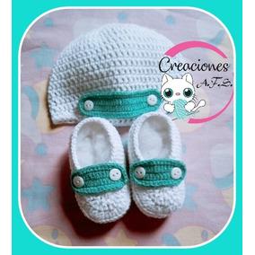 679f0044122ac Zapatilla Y Gorro Tejido A Crochet Hembra Y Varon