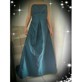 Vestido Gala, De Fiesta Verde Obscuro Azul Talla Xl 17-18