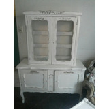Vitrina Normando Antigua Vintage Blanco Desgastado