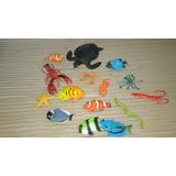 Lote De 15 Figuras Plásticas Animales Mar - Casi Sin Uso