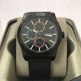 Reloj Deportivo Fossil Bq 2358 Negro Pulso En Cuero + Caja
