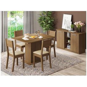 Conjunto De Mesa Madeira Com 4 Cadeiras Madesa - Jade