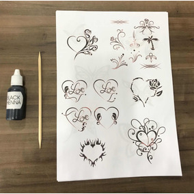 Kit Tatuagem Henna Tattoo Dura Até 15 Dias Black Henna
