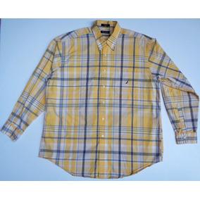 8c73b12616 Camisa Nautica Casual A Cuadros Xxl Manga Larga 100%algodón