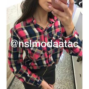 9db773cd6d Camisas+xadrez+feminina - Camisa Casual Manga Longa Femininas Rosa ...