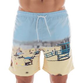 2 Shorts De Praia Estampado Liso Beach Wear Verão 2019 Mash